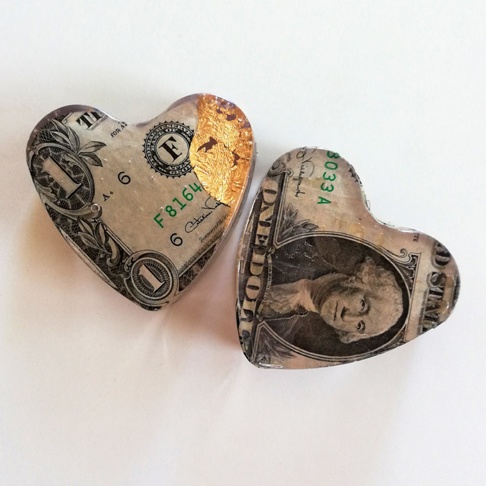 Two Heart Factory gold leaf and old banknotes hearts