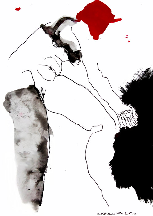 Black and red Ink artwork by Kalliopi Kouklinou