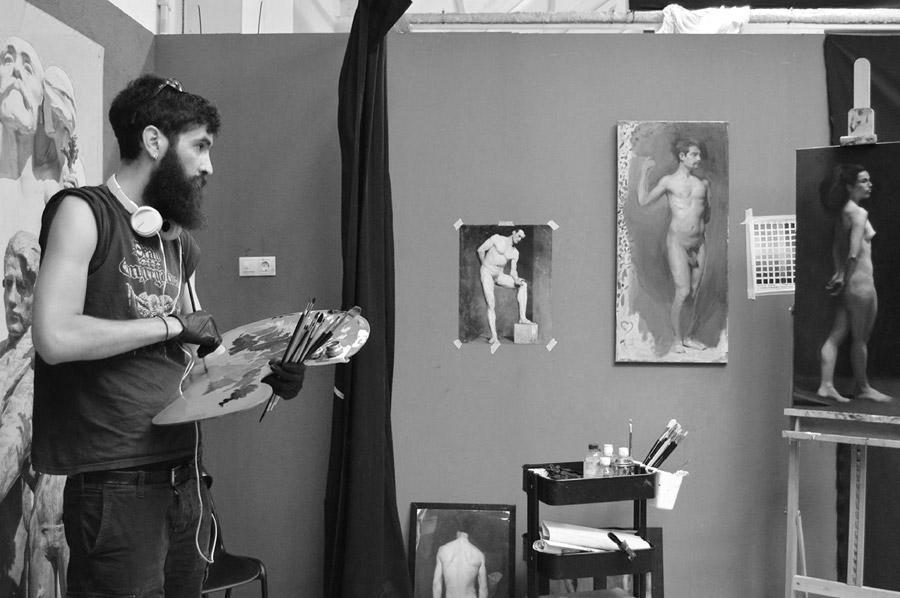 Kostas Protopapas portrait of the artist and his works