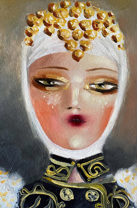 Traditional Greek bride oil painting by Vraziotis