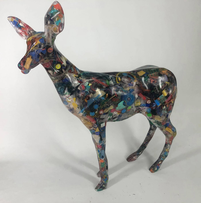 Resin and recycled waste Deer Sculpture by Dimitris Liossis