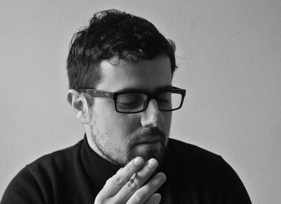 Black and white portrait of artist Panagiotis Ferentinos